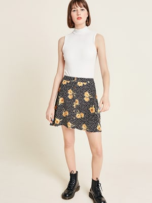 Black Spot Floral Shelly Mini Skirt