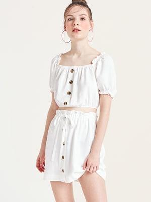 Ivory Kiera Linen Blend Mini Skirt