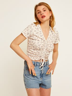 Cream and Lilac Floral Tillie Crop Top