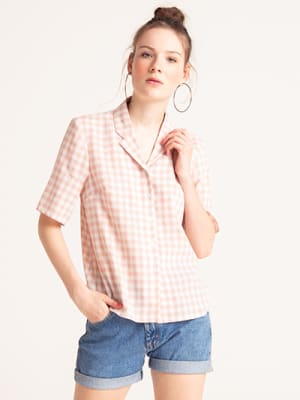 Pink and White Check Agnes Bowling Shirt