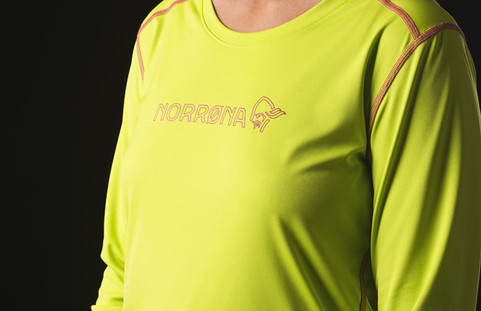 Chest detail of the tech long sleeve shirt for women, perfect for your active lifestlye.