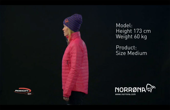 Norrona falketind Primaloft jacket for women in pink