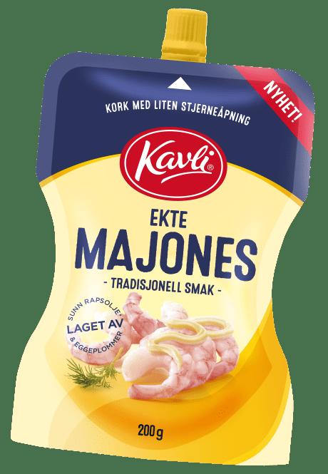 Kavli Ekte Majones på pose med smart skrukork og perfekt dosering.