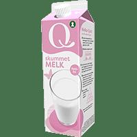 Q-melk skummet er fettfri.