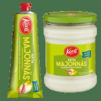 Produktbilder av Kavli äkta majonnäs i tub och burk
