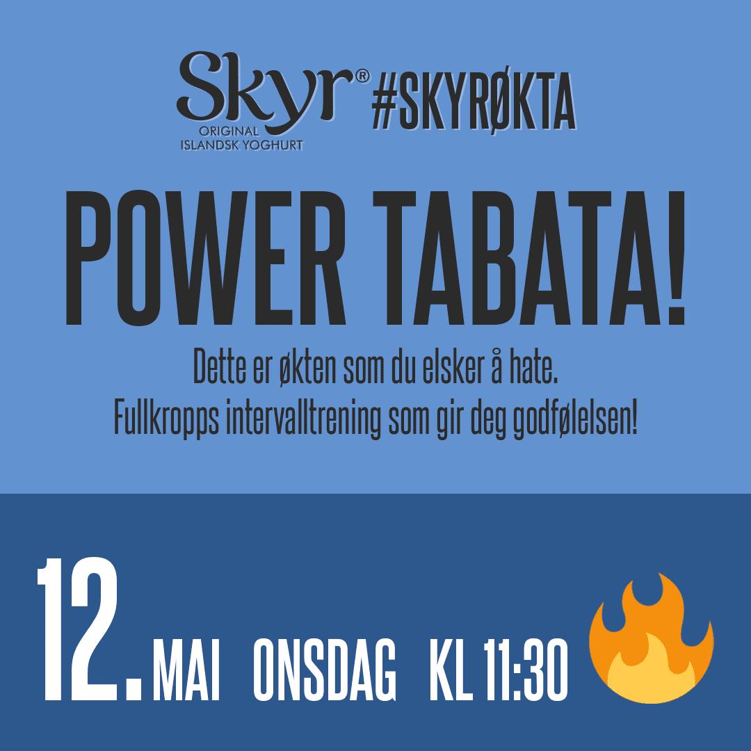 POWER TABATA! 12. mai onsdag kl. 11:30 - Dette er økten som du elsker å hate. Fullkropps intervalltrening som gir deg godfølelsen!