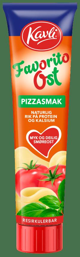 FavoritoOst fra Kavli på tube, med smak av pizza - laget på ekte norsk hvitost.
