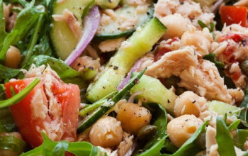 Chickpea, Tuna and Onion Salad with Lemon Cream Dressing