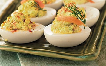 Smoked Salmon, Cream Cheese, and Dill-Stuffed Eggs