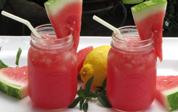 Watermelon Lemonade with Raspberries