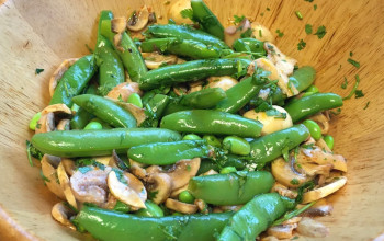 Mushrooms with Mock Crab and Snow Peas