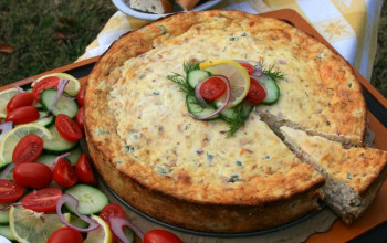 Smoked Salmon and Dill Cheesecake (Break-the-Fast)