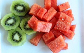 Pecan Fruit Salad with Kiwi Watermelon Dressing