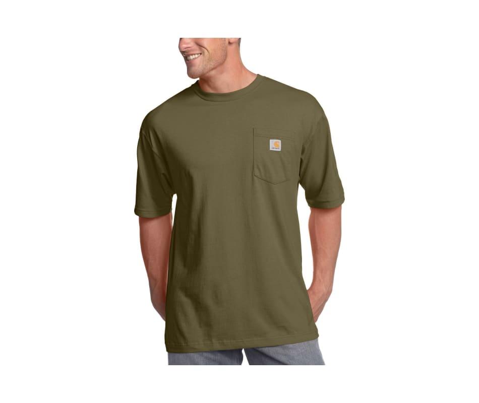 Carhartt men 39 s workwear pocket t shirt tall army green xxl for Xxl tall white t shirts