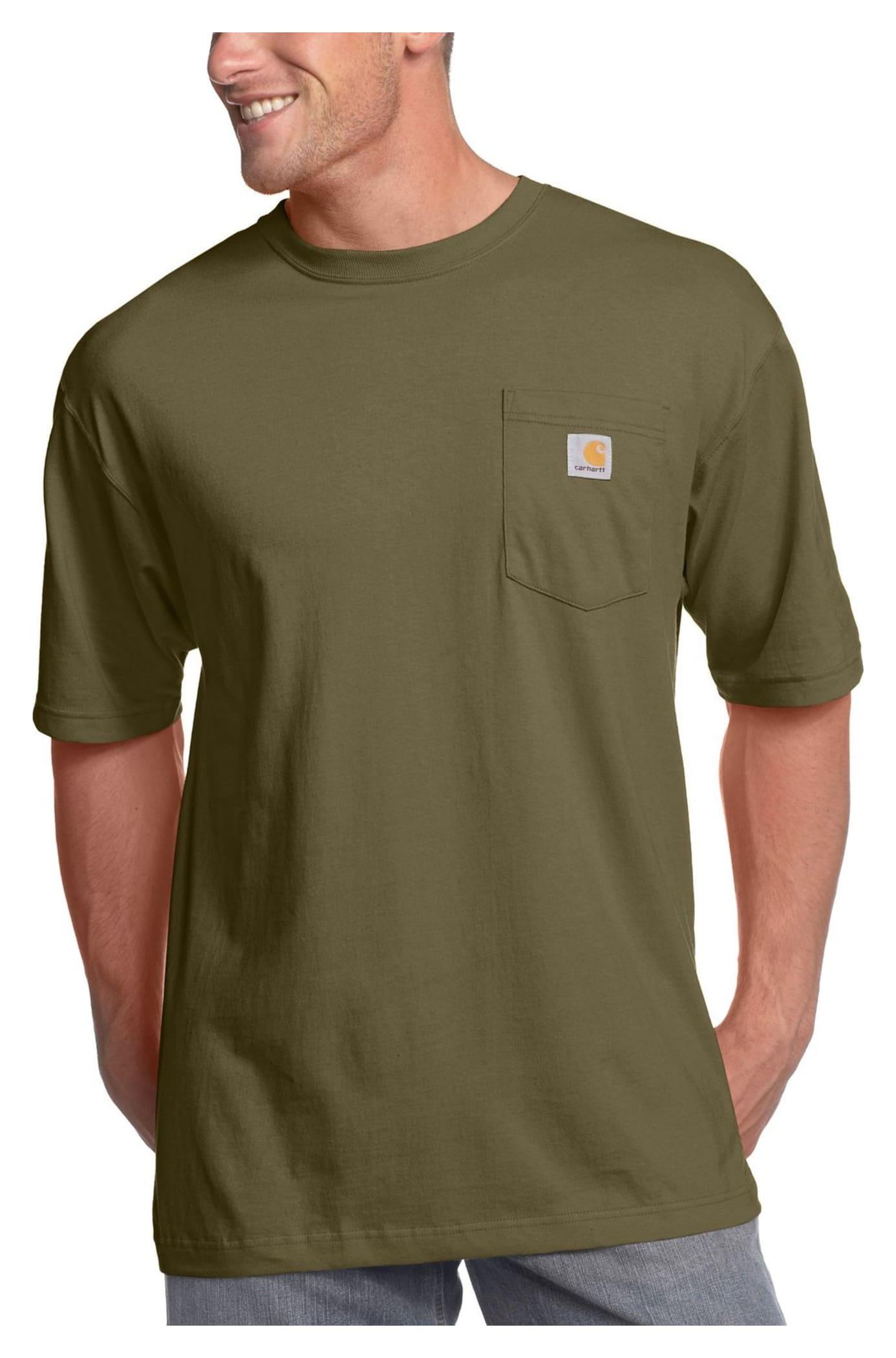 Carhartt men 39 s workwear pocket t shirt tall army green xxl for Mens xxl tall dress shirts