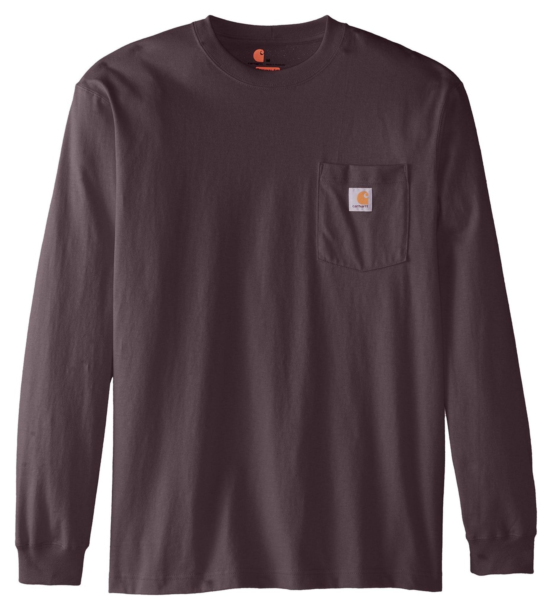 Carhartt K126 Long Sleeve Workwear Pocket T Shirt Charcoal