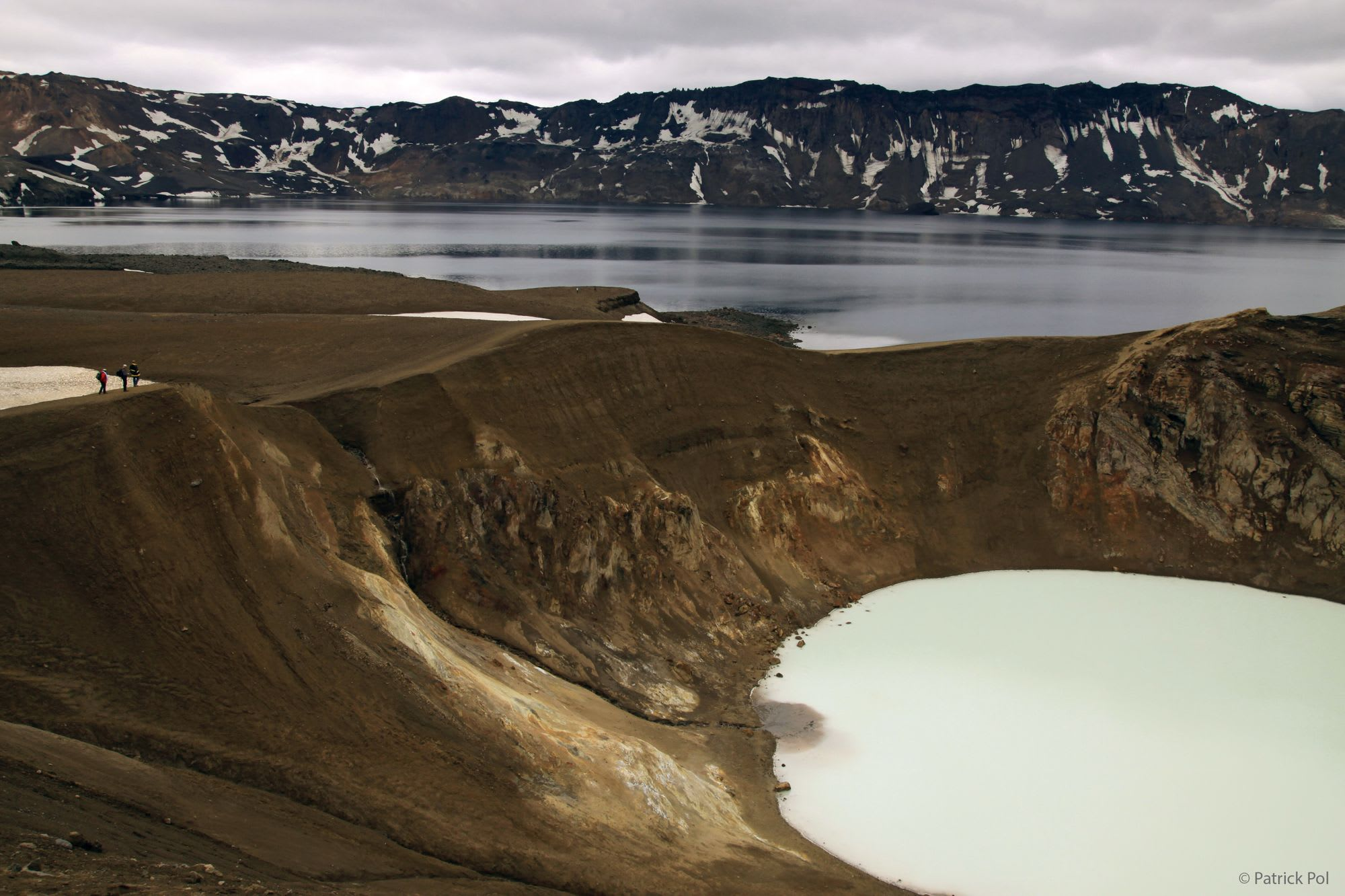 The Askja crater with on the foreground the Víti explosion crater, containing geothermal water