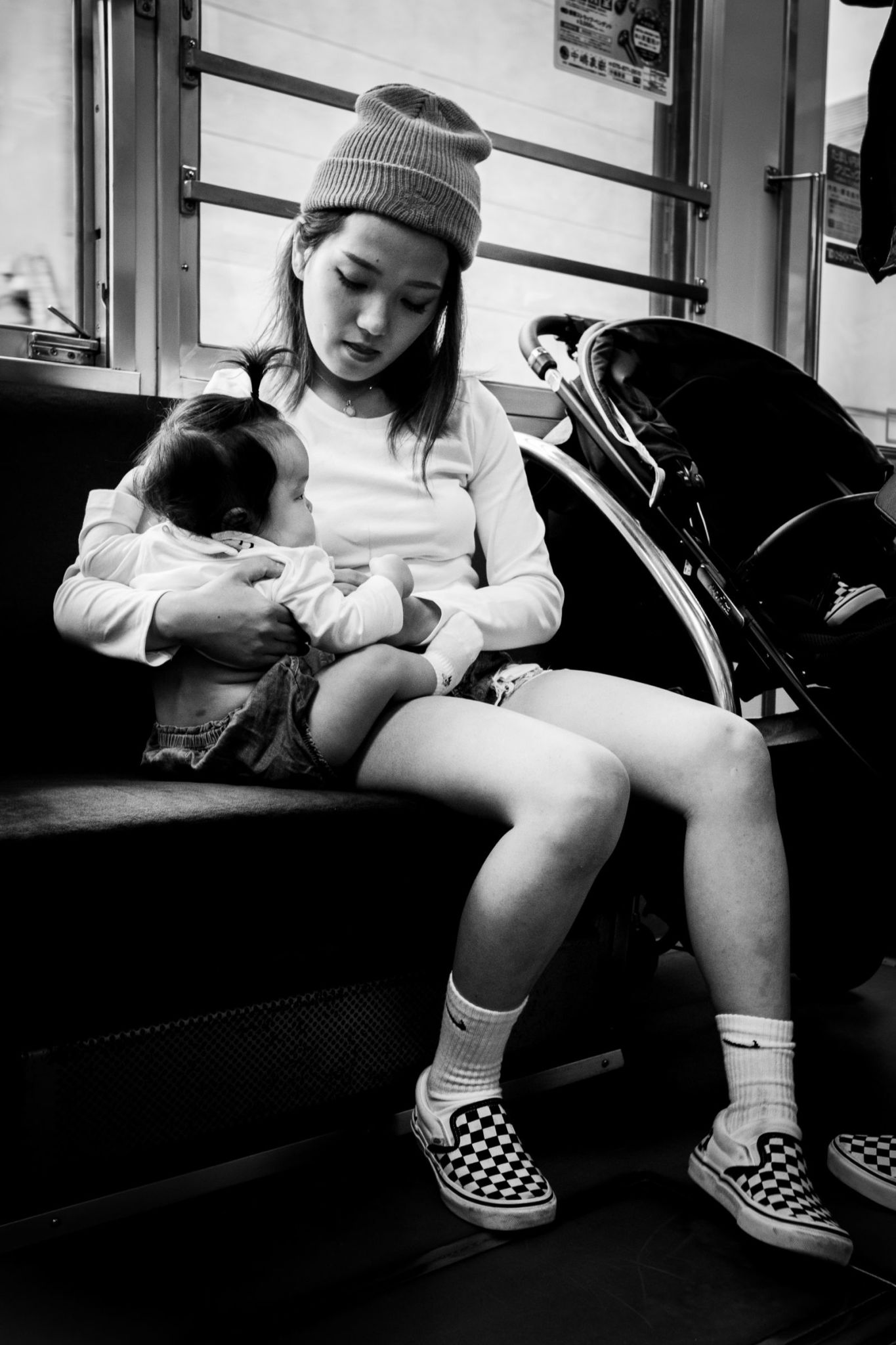Taking care of baby.