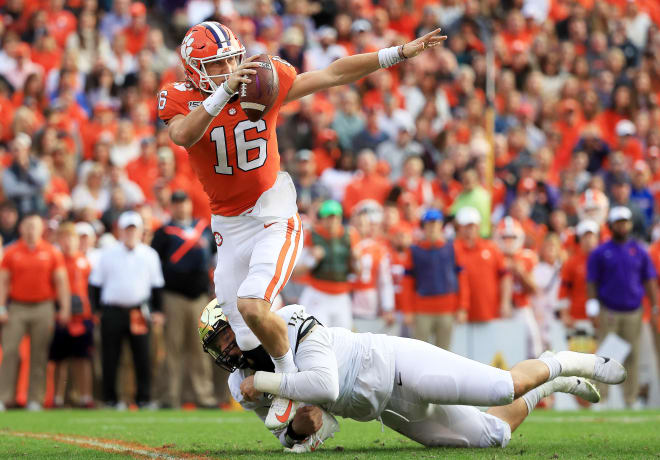 Wake Forest's defensive front got to Trevor Lawrence several times Saturday, but the Tigers' sophomore QB was still an impressive 21-for-27 passing for 272 yards and four touchdowns.