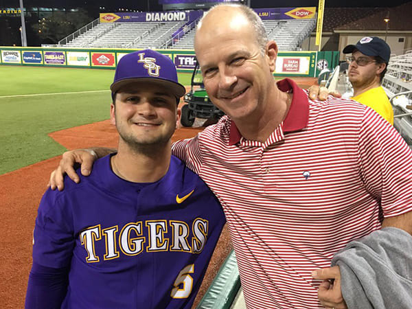 Drew Bianco (left) and Mike Bianco Saturday in Baton Rouge
