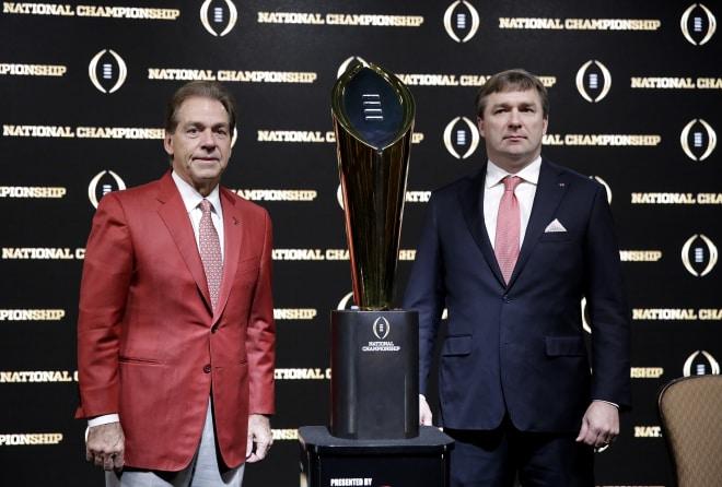 Alabama's Nick Saban (left) and UGA coach Kirby Smart