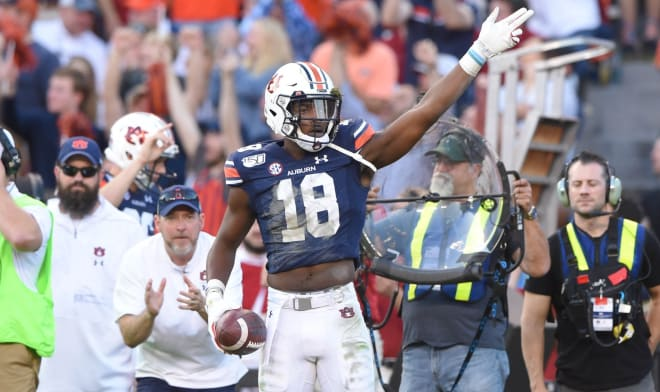Seth Williams (18) celebrates his one-handed, first-down catch during Auburn vs. Alabama.