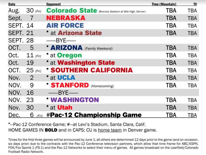 Cu Football Schedule 2019 CUSportsNation   Colorado's 2019 football schedule is set