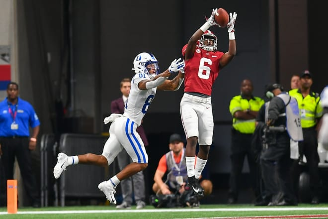 Alabama Crimson Tide safety Jordan Battle intercepts a ball against Duke. Photo | Getty Images