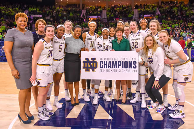 Notre Dame celebrated its sixth straight ACC regular season title in as many seasons in the league.