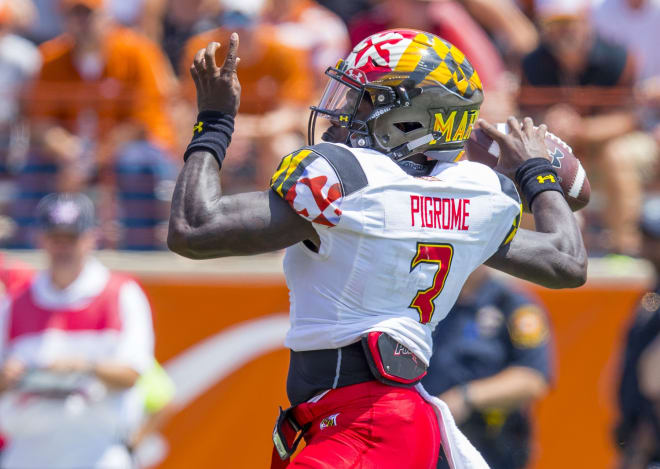 Maryland quarterback Tyrrell Pigrome (No. 3) will get his first start of the season at Purdue.