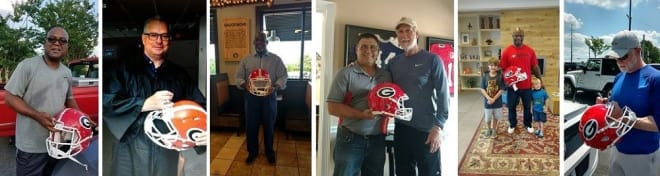 A handful of former Georgia football notables taking part in the signing of the helmets (L to R): Lindsay Scott, Kevin Butler, Clarence Pope, Ray Goff (with Rodgers), Kregg Lumpkin, and Rex Robinson.