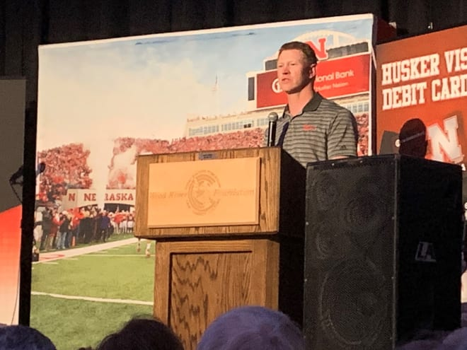 Nebraska head coach Scott Frost received a home town welcome in Wood River on Tuesday night in front of over 500 people. It was Frost's first public appearance in Wood River since becoming Nebraska's head coach.