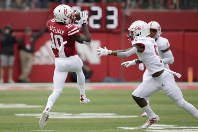 Nebraska receiver JD Spielman was one of the few bright spots for the offense on Saturday.