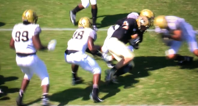 This is the play where Elijah Sindelar apparently suffered a concussion last Saturday vs. Vanderbilt.