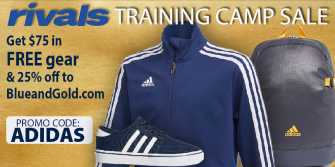 Click the picture to sign up for BlueandGold.com at 25% off PLUS a FREE $75 Adidas gift card.