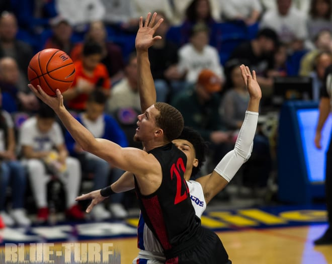 MWC player of the Year, Malachi Flynn (22) goes up for a basket during the Aztecs 72-55 win over Boise State earlier this season in Boise Idaho.