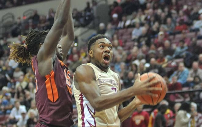 Freshman guard Trent Forrest attacks the basket in Florida State's 93-78 win over Virginia Tech on Saturday.