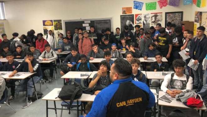 It's standing room only at the first meeting of the year back on January 10 shortly after Steven Arenas was hired as Carl Hayden's new head coach. (Photo Courtesy of Steven Arenas)