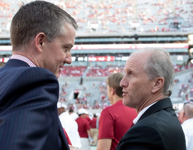 Alabama Crimson Tide AD Greg Byrne and University of Alabama president Stuart Bell will be tasked with shaping the Crimson Tide's response to the COVID-19 pandemic (Marvin Gentry-USA TODAY Sports).