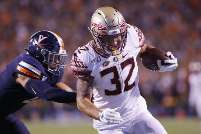 Gabe Nabers scores on a 10-yard TD catch on Saturday night in Florida State's game at Virginia.