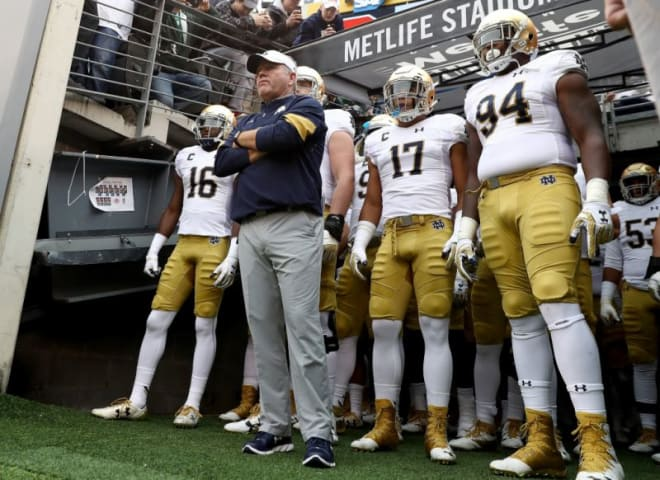 Notre Dame players preparing to come out from the tunnel before. agame