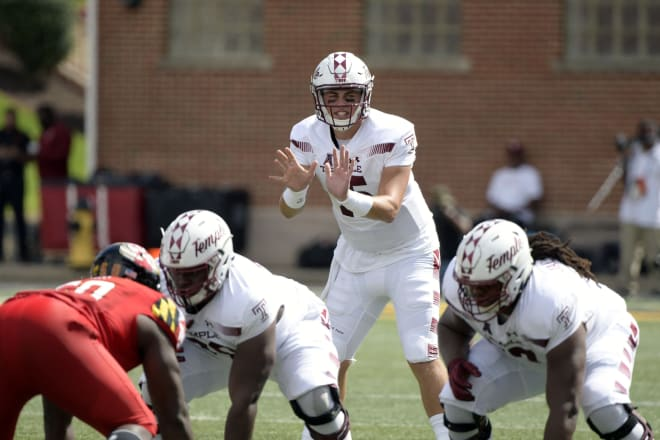 Temple quarterback Anthony Russo (No. 15) is likely to see a lot more pressure this week versus Maryland.