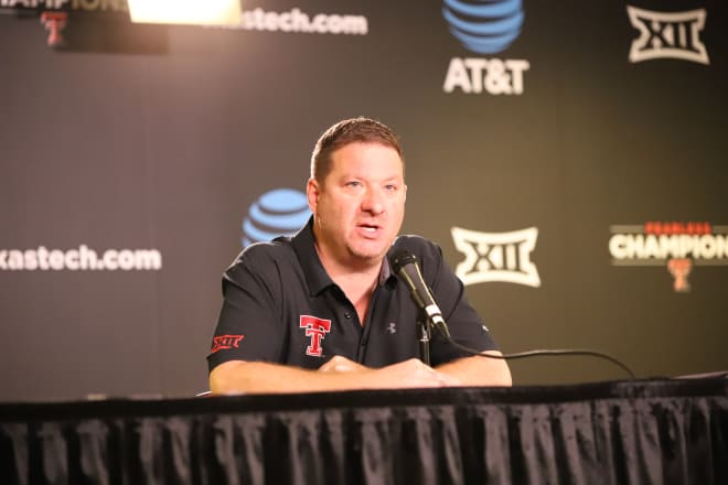 Texas Tech head basketball coach Chris Beard talks to the media Wednesday afternoon inside the United Supermarkets Arena.