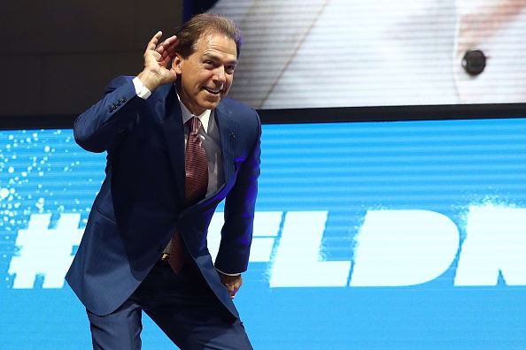 PHILADELPHIA, PA - APRIL 27: Nick Saban, head football coach at the University of Alabama, poses on stage prior to the first round of the 2017 NFL Draft at the Philadelphia Museum of Art on April 27, 2017 in Philadelphia, Pennsylvania. (Photo by Elsa/Getty Images)