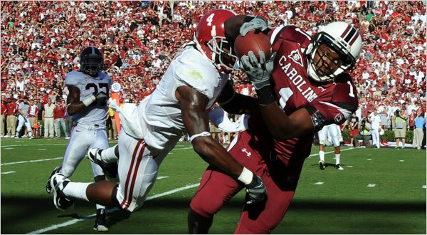 South Carolina Gamecocks receiver Alshon Jeffery pulls down a TD against Alabama in 2010.