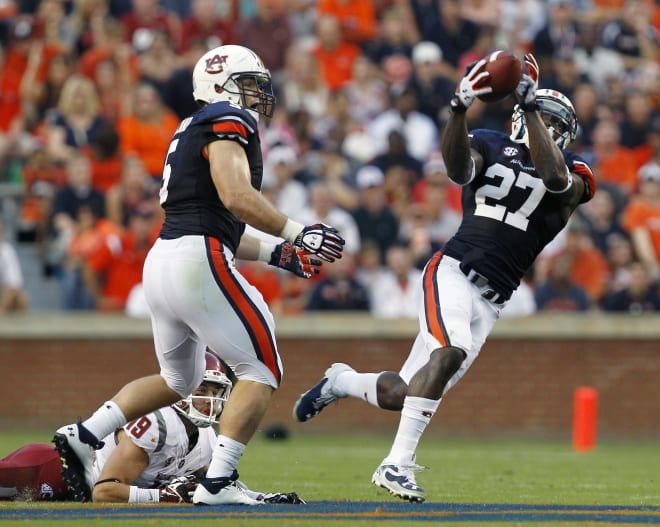 Therezie (27) led Auburn in interceptions during its 2013 SEC Championship season.