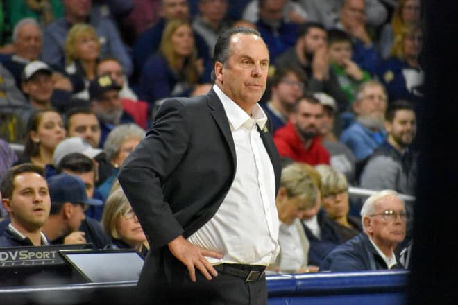 Notre Dame head coach Mike Brey during a basketball game