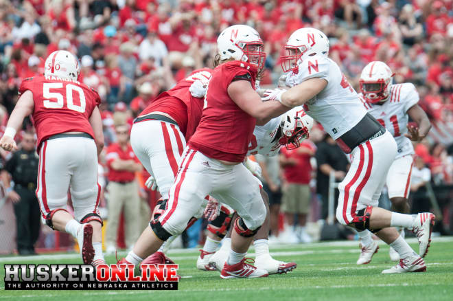 Nebraska's offensive line finished off spring on a high note with their play in the Red-White spring game.