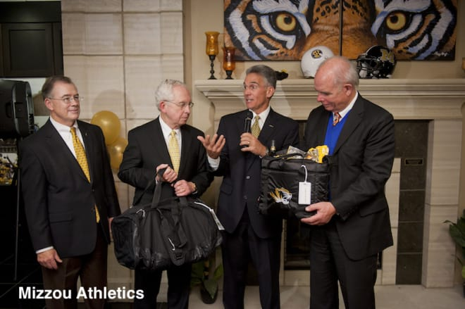Deaton, Slive, Alden and Machen at Missouri's welcome ceremony