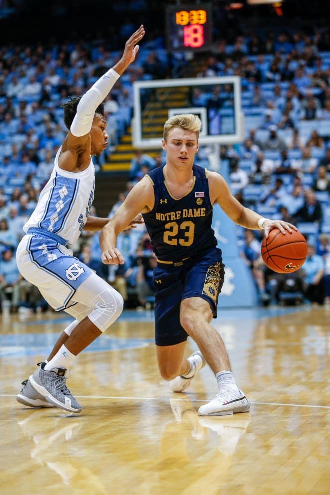 Notre Dame sophomore guard Dane Goodwin, seen here in the season-opener against North Carolina, had a team-high 18 points Saturday in an easy win over Robert Morris.
